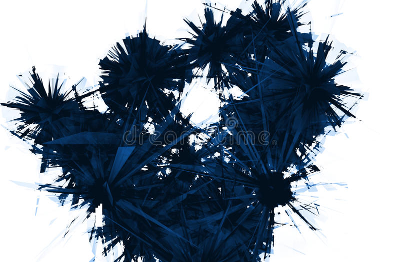 Abstract Dark Blue Cracked Crystal. Abstract Blue cracked crystal on white background vector illustration