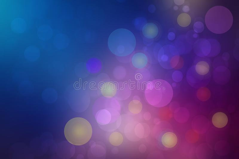 Abstract dark blue gradient pink background texture with glitter defocused sparkle bokeh circles and glowing circular lights. Beautiful backdrop with bokeh stock illustration