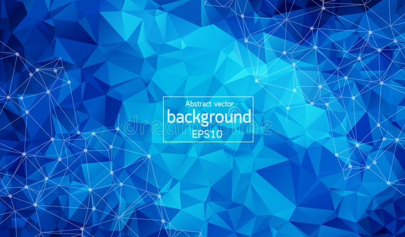 Abstract Dark blue Polygonal Space Background with Connecting Dots and Lines. Geometric Polygonal background molecule and communic. Ation. Concept of science vector illustration
