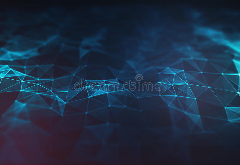Abstract dark blue polygonal terrain relief low poly background. Connecting dots and lines in triangle polygonal structure. Illustration for branding, science royalty free illustration