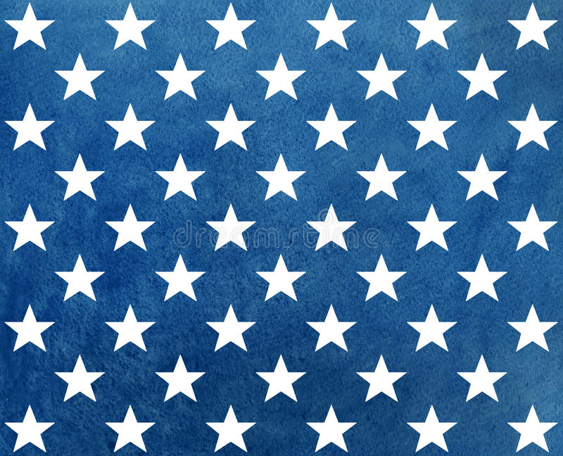 Abstract dark blue watercolor pattern with white stars. USA flag colors pattern. Abstract dark blue watercolor pattern with white stars vector illustration