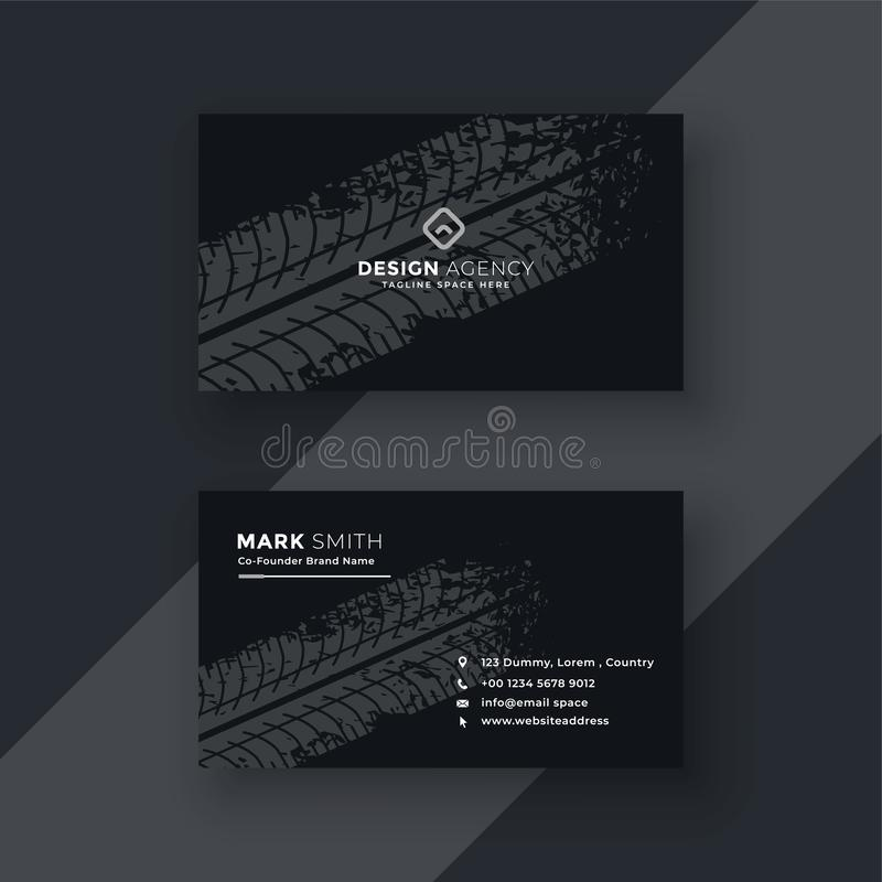 Abstract dark business card with tire mark royalty free illustration