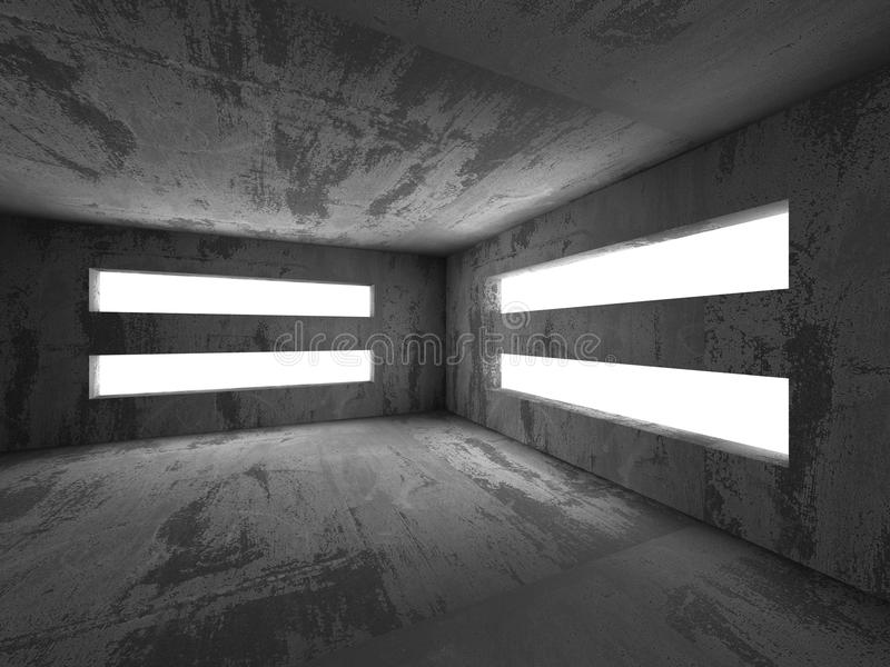 Abstract dark concrete interior architecture background. 3d render illustration stock images