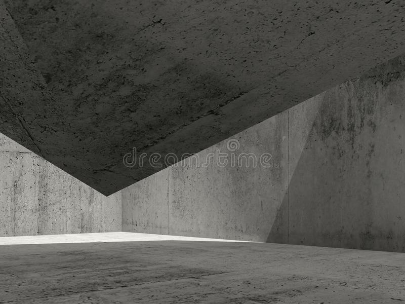 Abstract dark concrete interior, 3d render royalty free illustration