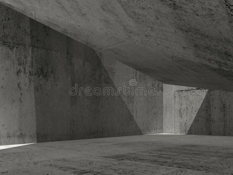 Abstract dark concrete interior, 3d illustration royalty free illustration