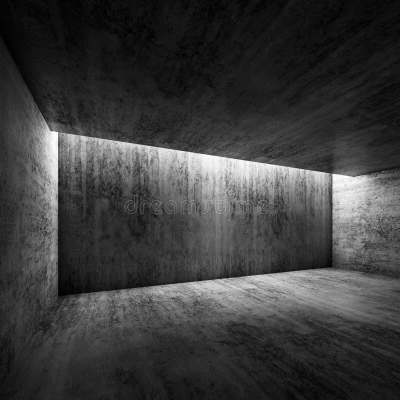 Abstract Dark Concrete Interior Of Empty Room, 3d Stock
