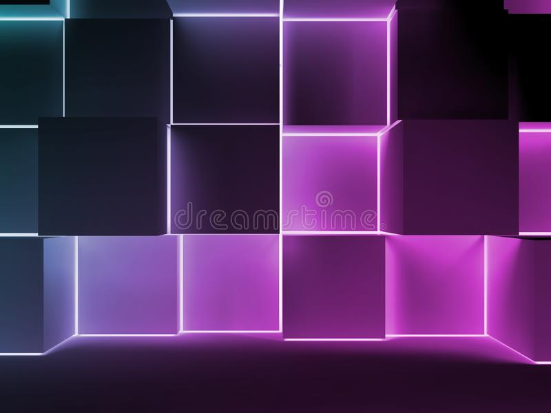 Colorful glowing cubes installation. 3d render vector illustration