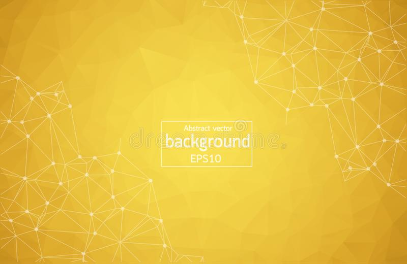 Abstract dark Orange Geometric Polygonal background molecule and communication. Connected lines with dots. Concept of the science, vector illustration