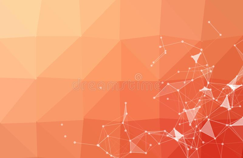 Abstract dark Orange Geometric Polygonal background molecule and communication. Connected lines with dots. Concept of the science vector illustration