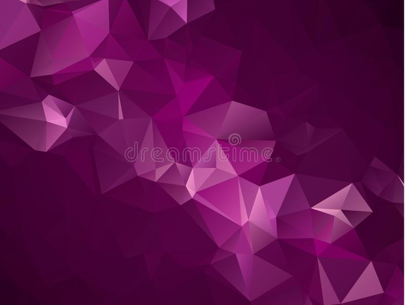 Abstract Dark Purple, Pink vector Low poly crystal background. Polygon design pattern. Low poly illustration, low polygon backgrou royalty free illustration