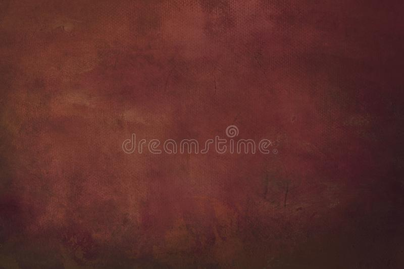 Red grungy painting background. Abstract dark red canvas detail texture or background stock photos
