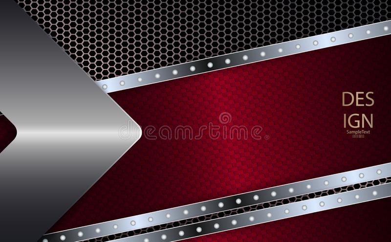 Abstract dark red mesh design with a metallic hue and shiny rivets.  royalty free illustration