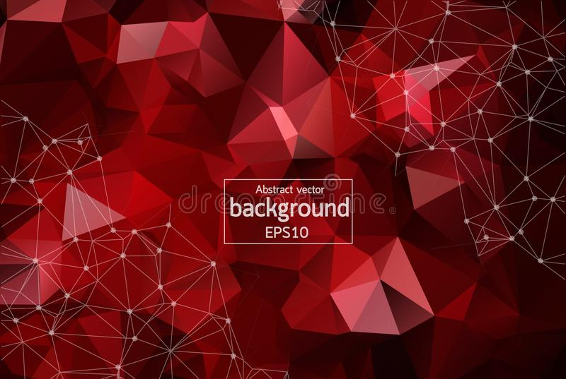 Abstract Dark Red Polygonal Space Background with Connecting Dots and Lines. Geometric Polygonal background molecule and communica. Tion. Concept of science stock illustration