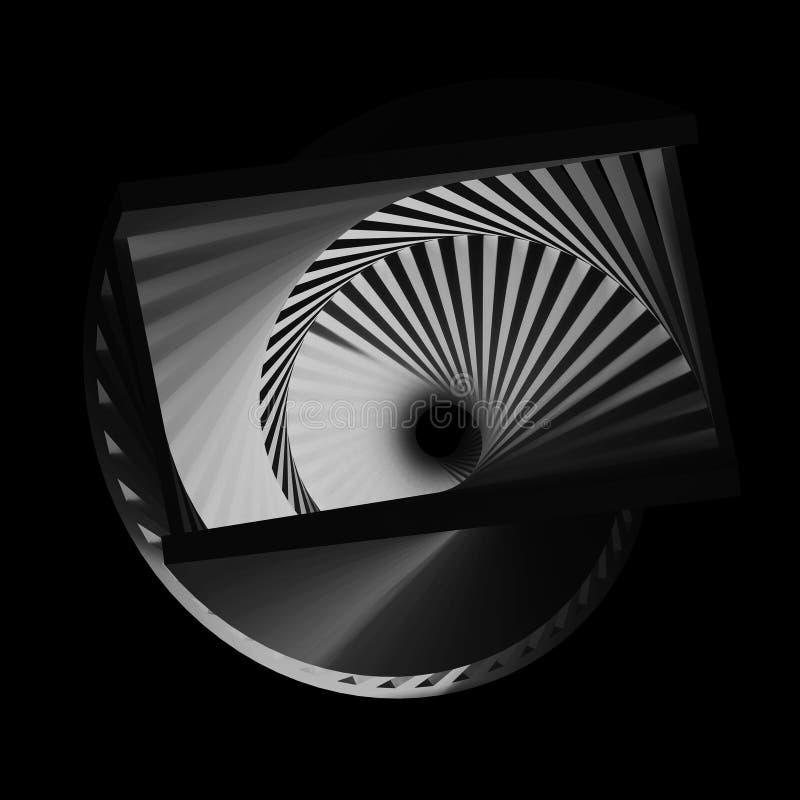 Abstract dark spirals pattern, 3d render. Abstract dark spirals pattern, cg optical illusion, 3d render illustration royalty free illustration