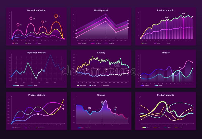 Abstract data charts. Statistic graphs, finance line chart and marketing histogram graph infographic vector set. Abstract data charts. Statistic graphs, finance royalty free illustration