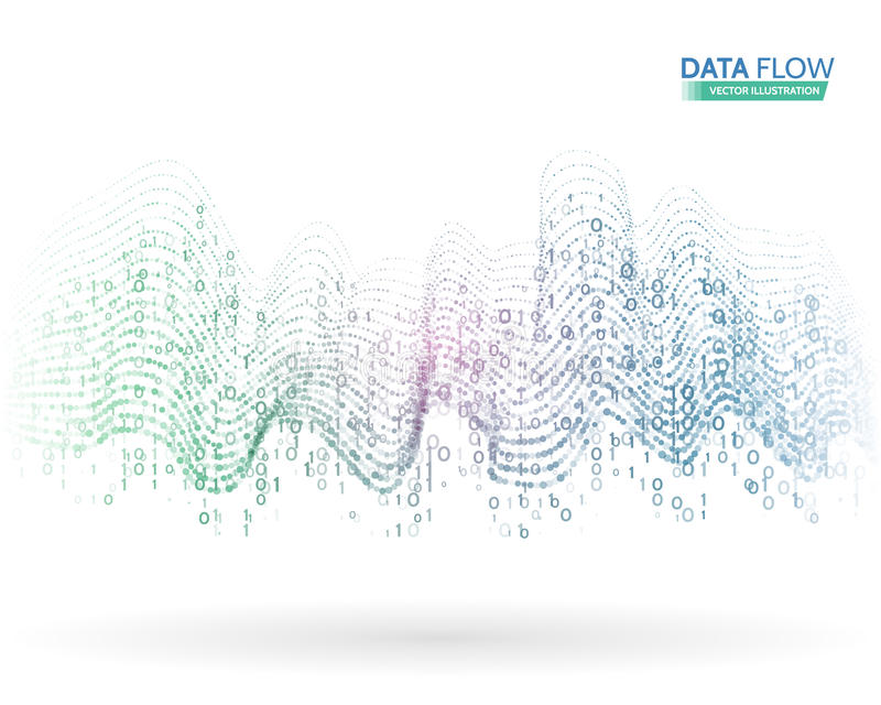Abstract data flow background with binary code. Dynamic waves technology concept. Vector illustration information stream vector illustration