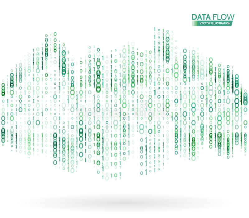 Abstract data flow background with binary code. Dynamic waves technology concept. stock illustration