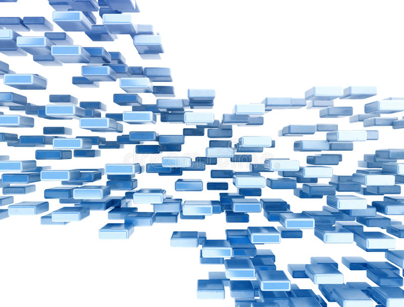 Abstract data flow image. Blue cubes data flow concept on white vector illustration