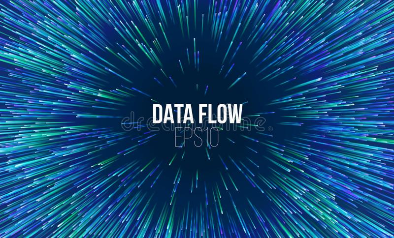 Abstract data flow tunnel. Circular geometric centric motion pattern. Music explosion radial background royalty free illustration