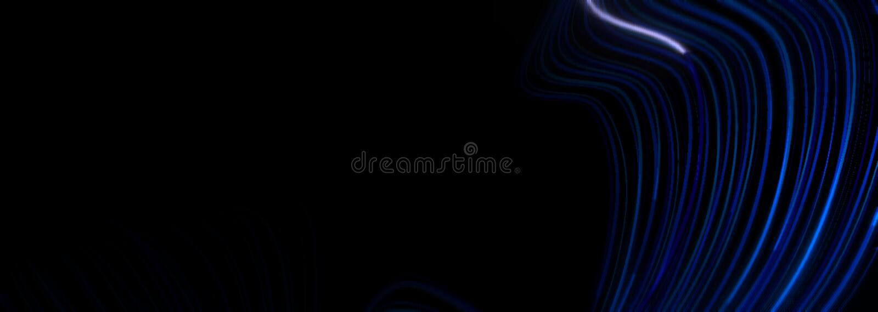 Abstract data style splines background design. Blue waves of different shades on black background. Stock raster illustration, art, pattern, shape, curl, deep stock illustration
