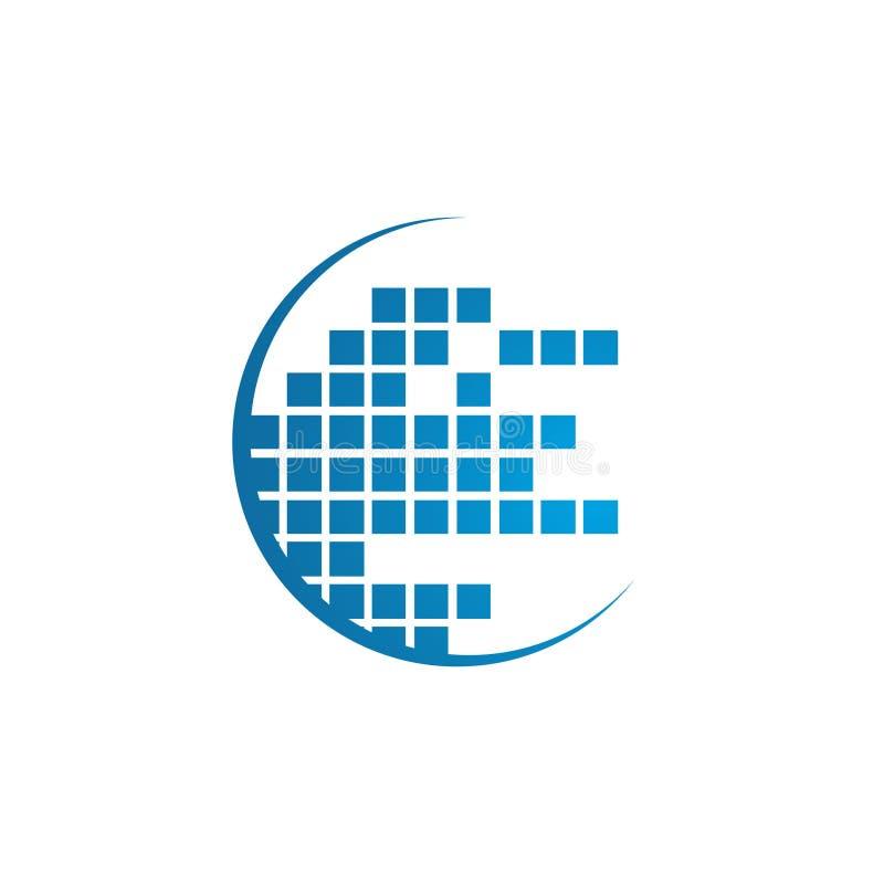 Abstract data tech logo vector design illustrator. Abstract data tech logo half circle vector design. Data share tech logo concept stock illustration