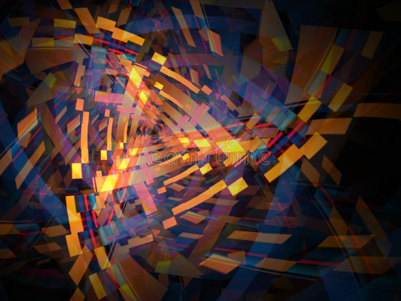 Abstract De-Constructed Shapes Background Illustration. The pieces seem to be de-assembling and re-assembling on their own royalty free illustration