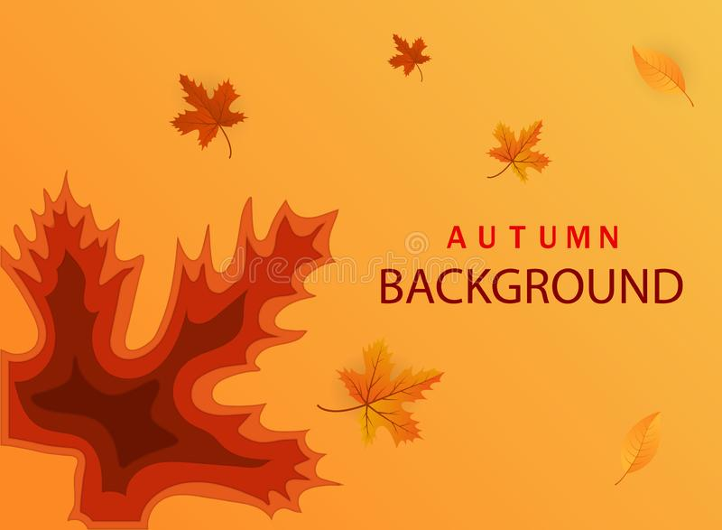 Abstract de herfstdocument besnoeiingsmalplaatje De moderne banner met 3D abstracte achtergrond en het document snijden vormen va vector illustratie