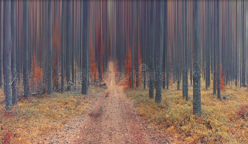 Abstract de herfstlandschap in net bos royalty-vrije stock afbeelding