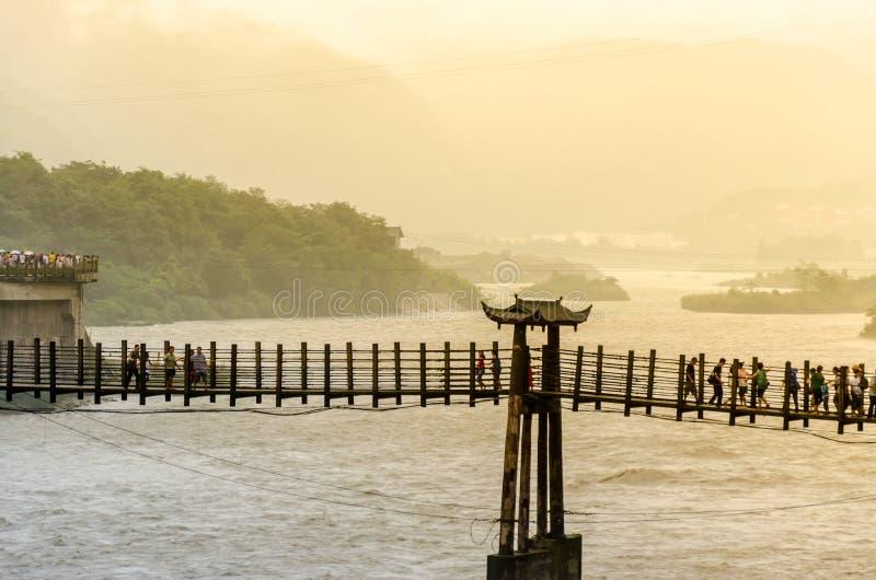 Abstract de Irrigatieproject van onduidelijk beelddujiangyan van China stock afbeeldingen