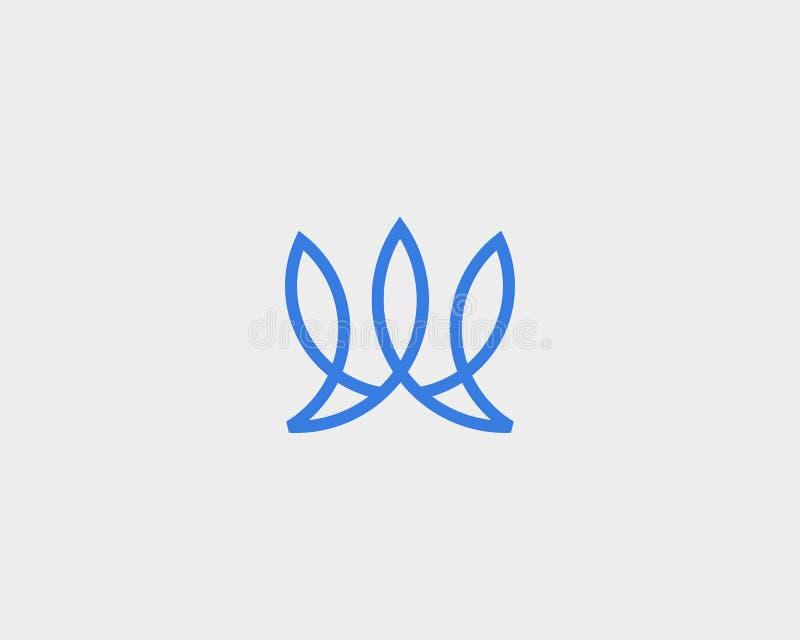 Abstract de kroonembleem van het vissenblad Creatieve lijnvector logotype vector illustratie
