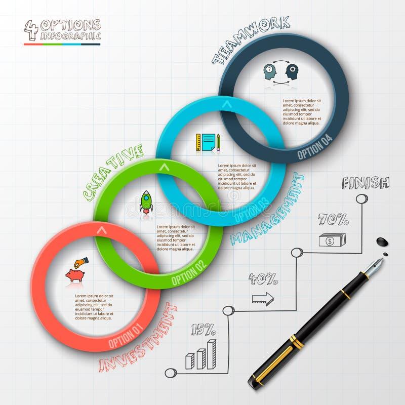 Abstract de optiesmalplaatje van het infographicsaantal stock illustratie