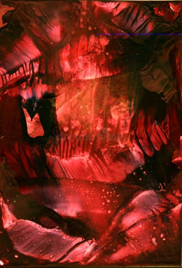 Abstract de tonen van de waterkleur encaustic rood en zwart Donker hol als achtergrond, Diepe Textuur, Behang stock foto's