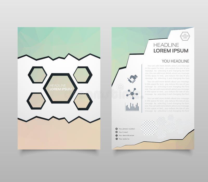Abstract de Vliegerontwerp van de Driehoeksbrochure in A4 grootte De lay-out van het brochuremalplaatje, het jaarverslag van het  stock illustratie