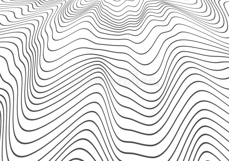 Abstract decor of wavy distorted lines. Black winding relief wave. Texture. Vector object template isolated on a light background. vector illustration