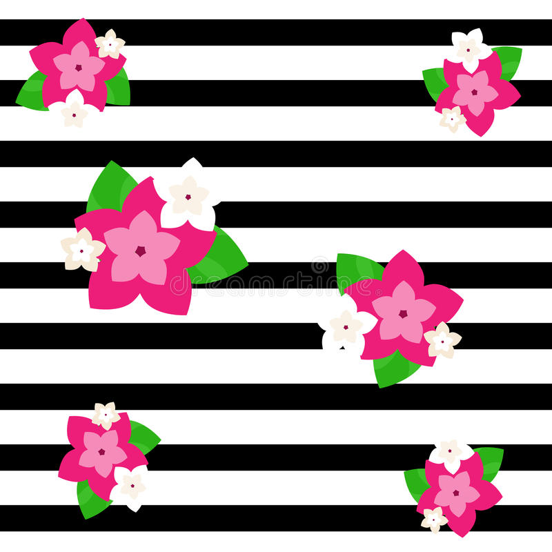 Abstract decorative background. Black stripes and exotic tropical flowers vector illustration