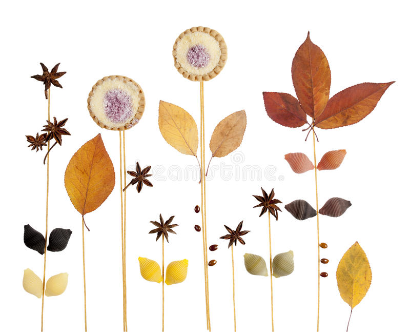 Abstract decorative background with star anise, pasta, cookies a royalty free stock photo