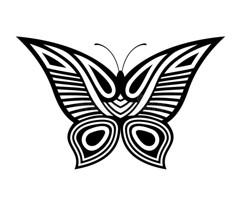 Abstract decorative butterfly illustration, isolated on white background. Tattoo pattern. Vector icon, symbol royalty free illustration