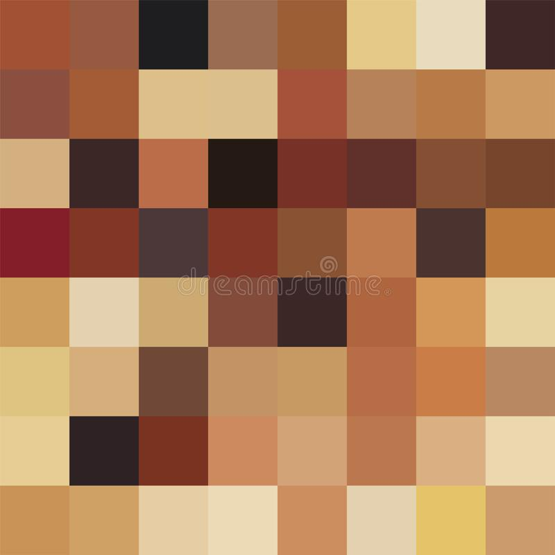 Abstract decorative modern background with simple squares in brown shades. Blur seamless trendy pattern - pixel design stock illustration
