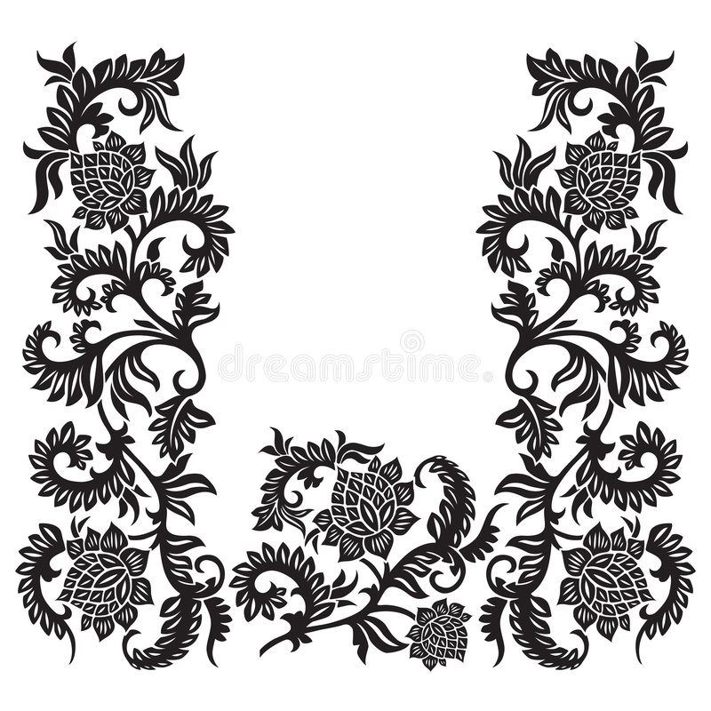 Abstract decorative ornament with flower, vector illustration vector illustration