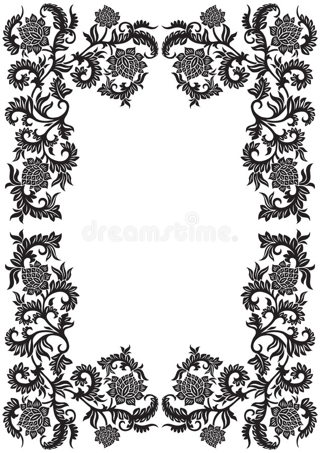 abstract decorative ornamental frame with flower, vector illustration stock illustration