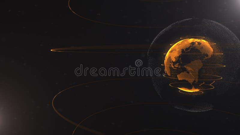 Abstract deeltje De gouden, oranje planeet binnen het wit veilted één, gecreeerd van punten Totale zwarte dackdrop weinig royalty-vrije illustratie