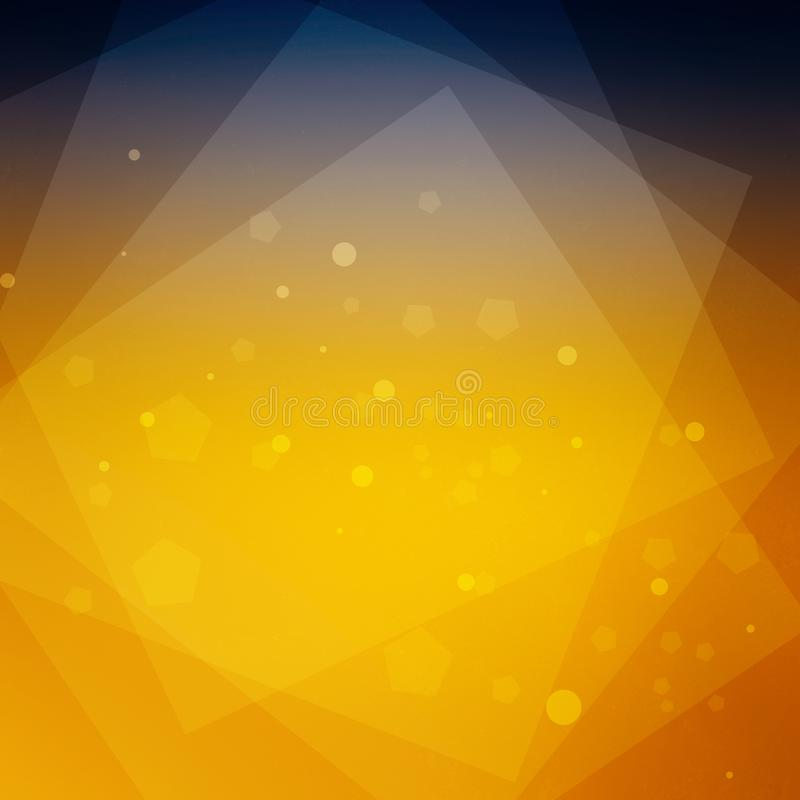 Abstract deep blue and orange gold background with layers of squares and yellow hexagons and glitter circles in a modern royalty free illustration