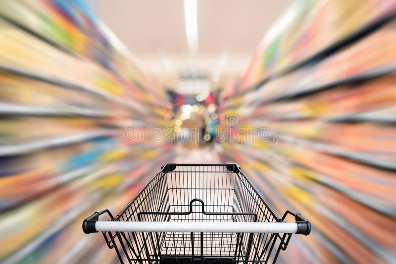 Abstract defocus blurred of consumer goods in supermarket grocery store., Business retail and customer shopping mall service.,. Motion blurry concept stock images
