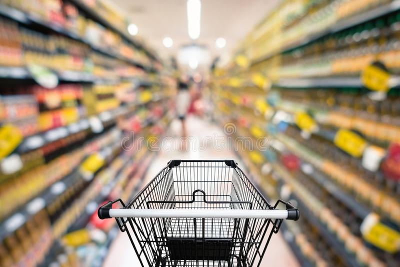 Abstract Defocus Blurred of Consumer Goods in Supermarket Grocery Store., Business Retail and Customer Shopping Mall Service.,. Motion Blurry Concept stock image