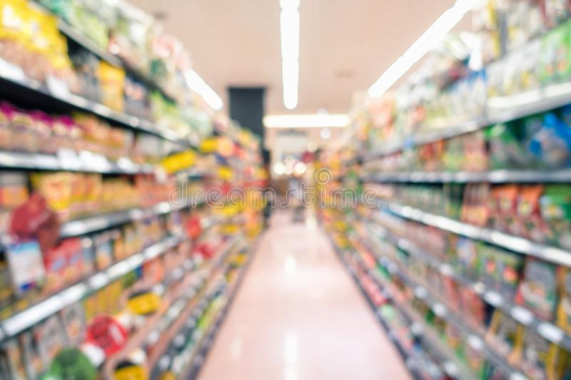 Abstract Defocus Blurred of Consumer Goods in Supermarket Grocery Store., Business Retail and Customer Shopping Mall Service.,. Motion Blurry Concept stock photography