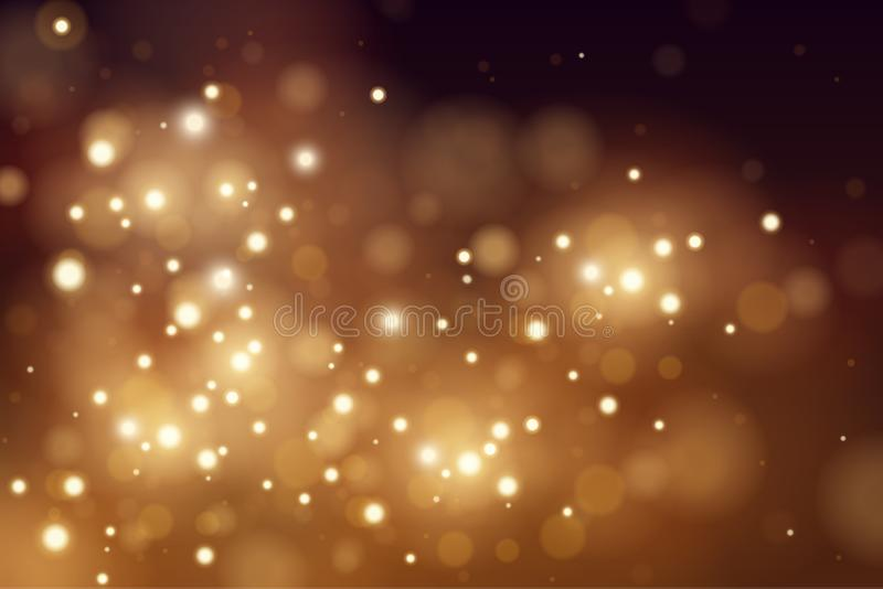 Abstract defocused circular golden luxury gold glitter bokeh lights background. Magic background. EPS 10. Holiday stock illustration