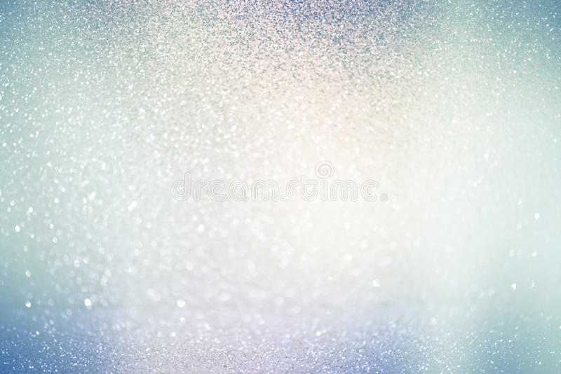 Abstract defocused lights, sparkling holiday bokeh background. With blue pastel pink tones, elegant christmas backdrop stock image