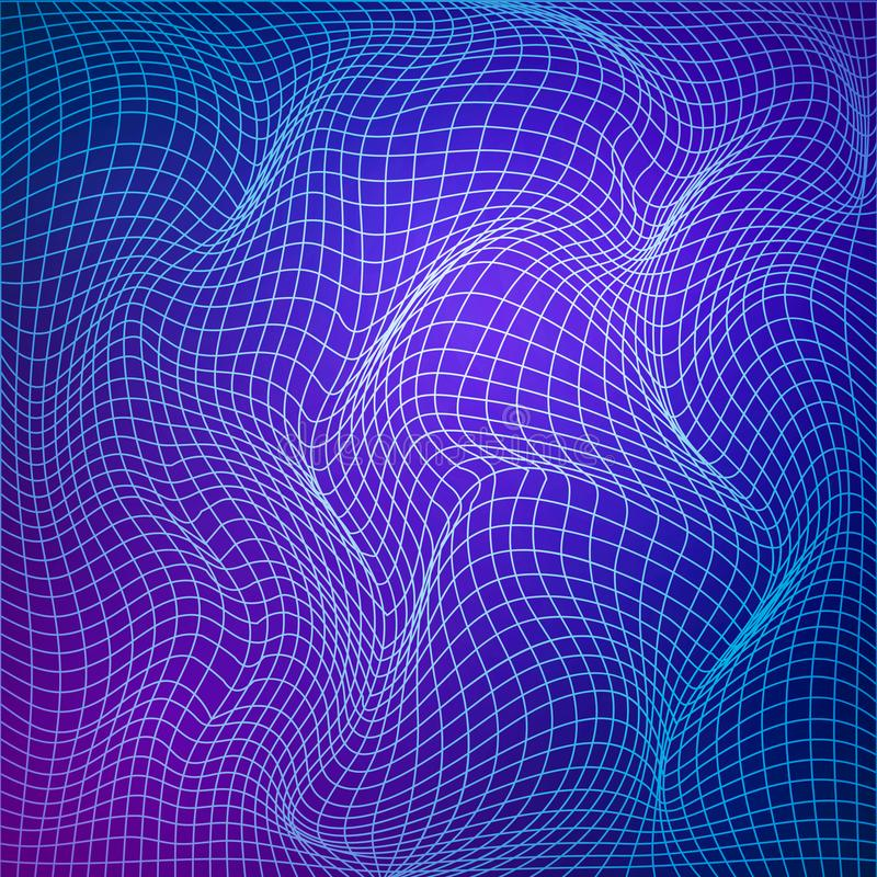 Abstract deformation of grid. Template of grid distort. Wavy mesh structure. Vector illustration isolated on blue background vector illustration