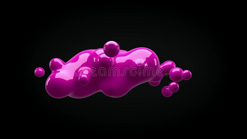 Abstract deformed figure on a black background stock illustration