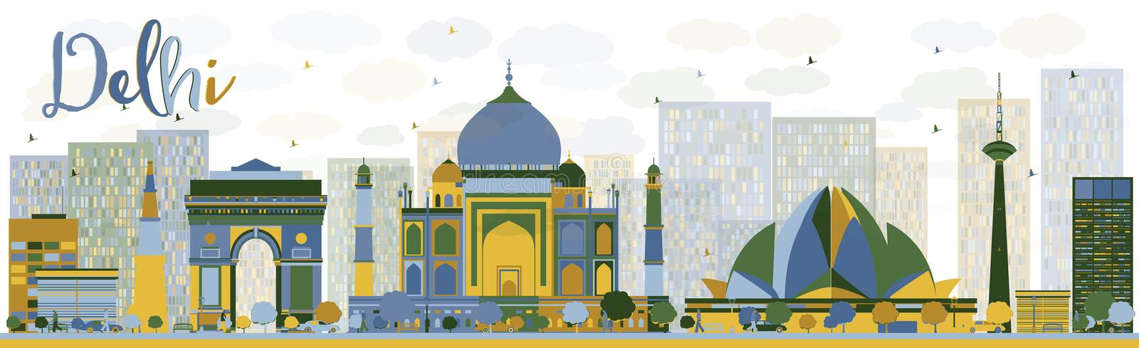 Abstract Delhi skyline with color landmarks. Vector illustration. Business travel and tourism concept with historic buildings. Image for presentation, banner royalty free illustration